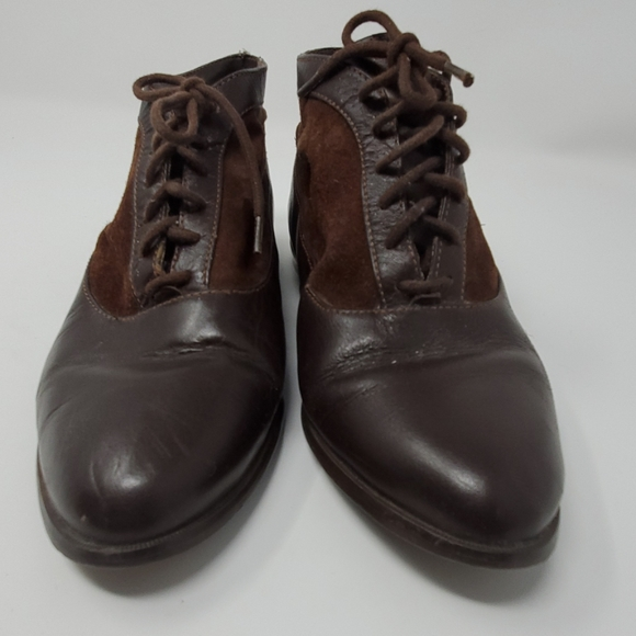 Vintage 80s Apache Leather Lace Up Booties